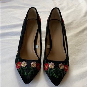 A New Day Velvet Floral 3 Inch Heels